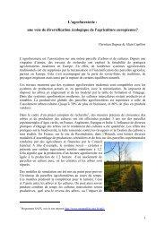 L'agroforesterie : une voie de diversification ... - INRA Montpellier
