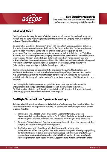 Live-Experimentalvortrag Experimentalvortrag ... - Asecos GmbH
