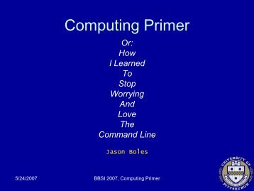 Computing Primer - Computational and Systems Biology