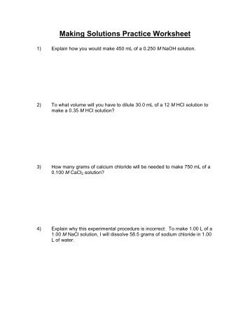 Making Solutions Practice Worksheet