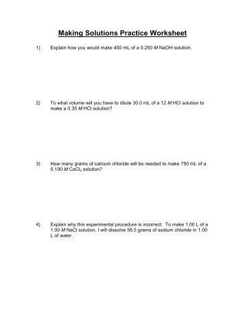 Making Solutions Practice Worksheet