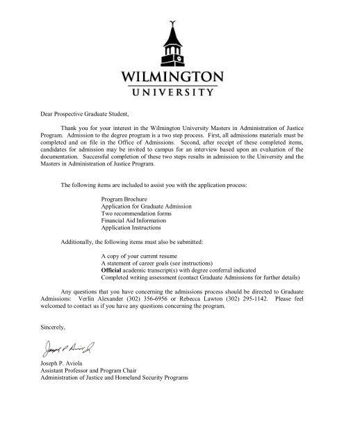 Dear Prospective Graduate Student Wilmington University