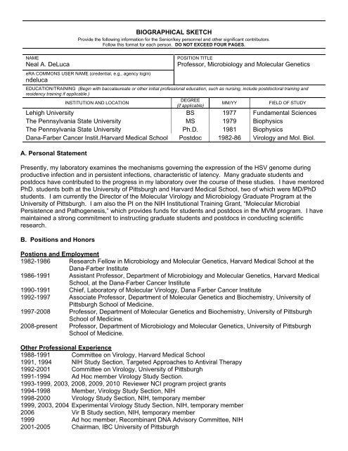 BIOGRAPHICAL SKETCH Neal A  DeLuca Professor, Microbiology
