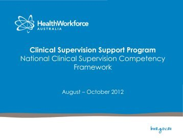 Clinical Supervision Support Program National Clinical Supervision ...