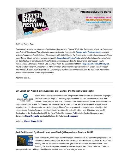 #3 Reeperbahn Festival 04. Juli 2012