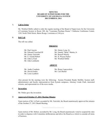 MINUTES BOARD OF SUPERVISORS FOR THE ... - Louisiana