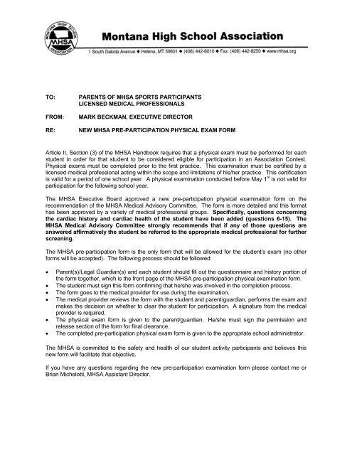 Pre-participation physical exam form - Montana High School