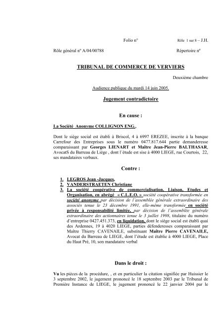 jugement SA COLLIGNON ENG. c - Juridat