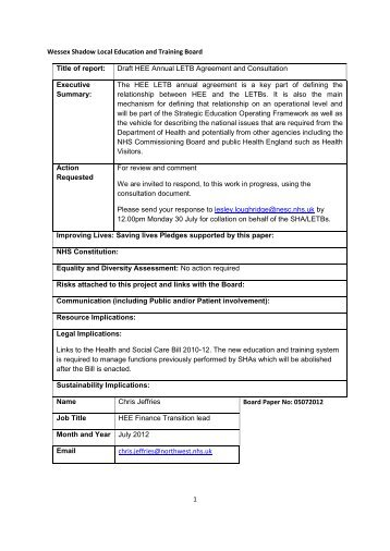 Draft HEE Annual Agreement and Consultation - Workforce and ...