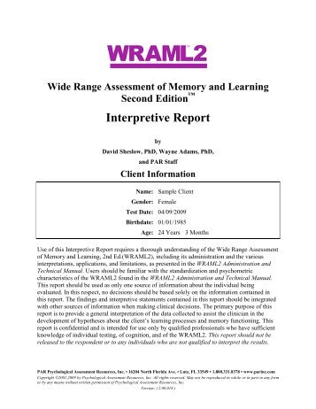 Interpretive Report Of Wais–Iv And Wms–Iv Testing - Pearson