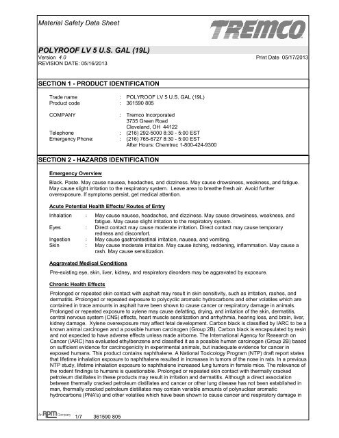 Polyroof 194 174 Lv Us Msds Tremco Roofing