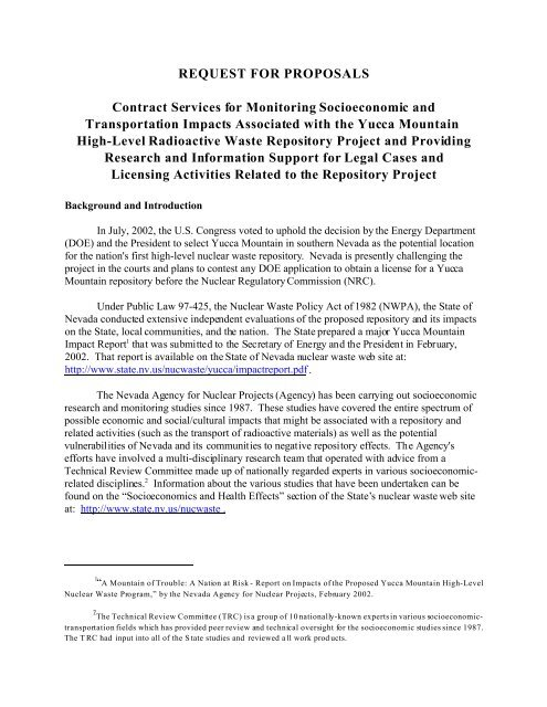 REQUEST FOR PROPOSALS Contract Services for Monitoring