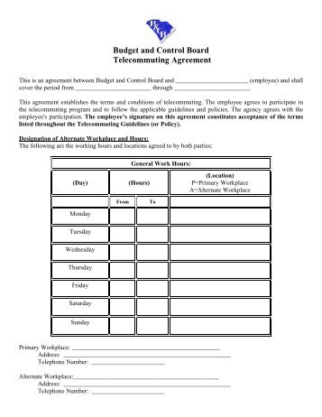 Telecommuting Agreement The Following Document Represents The