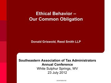 Ethical Behavior – Our Common Obligation - State of West Virginia