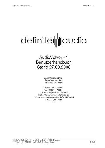 AudioVolver - 1 Benutzerhandbuch