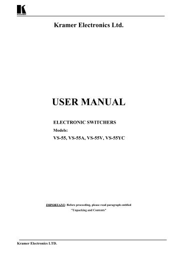 Kramer Electronics Ltd. USER MANUAL ELECTRONIC SWITCHERS