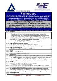 """Fachgruppe ENTSCHEIDERFABRIK """"ECM-Systeme und IHE"""" - GUIG"""