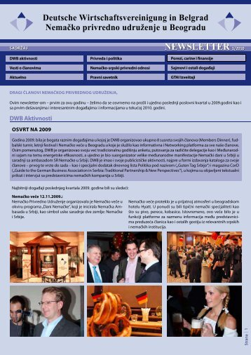 Newsletter 01/2010 - AHK Serbien