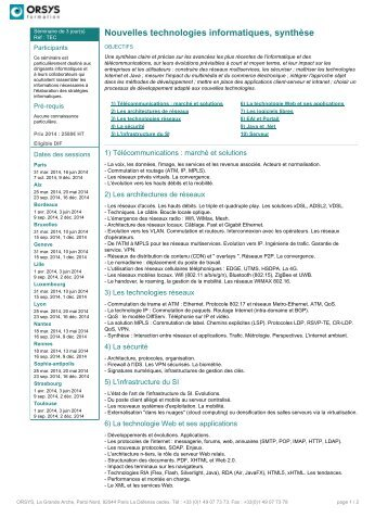 Nouvelles technologies informatiques, synthèse - Orsys