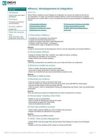 Alfresco, développement et intégration - Orsys