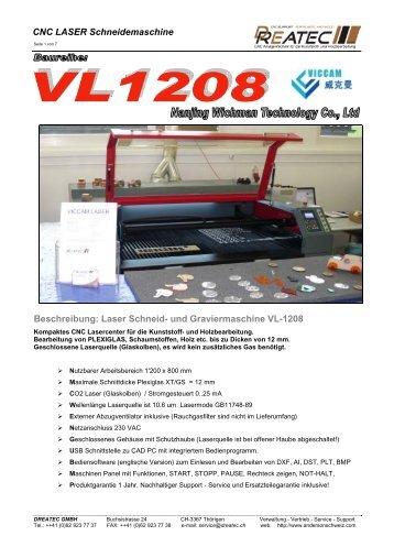Laser Schneid- und Graviermaschine VL-1208 - DREATEC GmbH