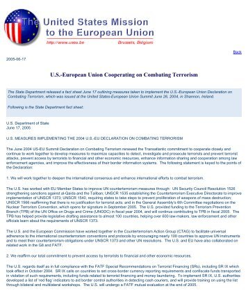 US-EU cooperating on combating terrorism - Statewatch