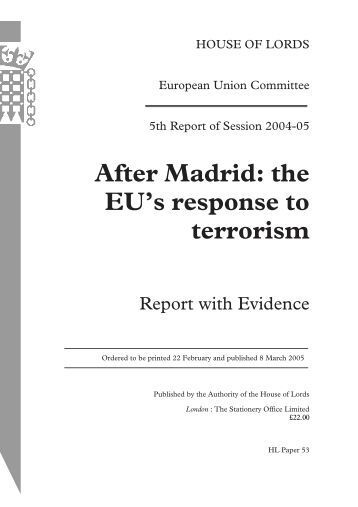 the EU's response to terrorism - United Kingdom Parliament