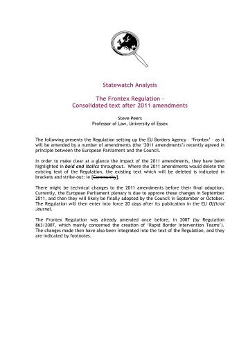 The Frontex Regulation – Consolidated text after 2011 ... - Statewatch