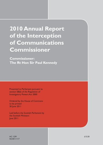 2010 Annual Report of the Interception of ... - Statewatch
