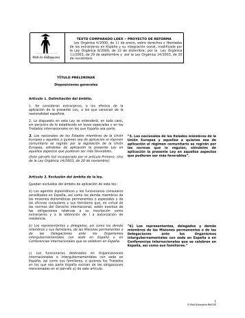 TEXTO COMPARADO LOEX – PROYECTO DE REFORMA Ley ...