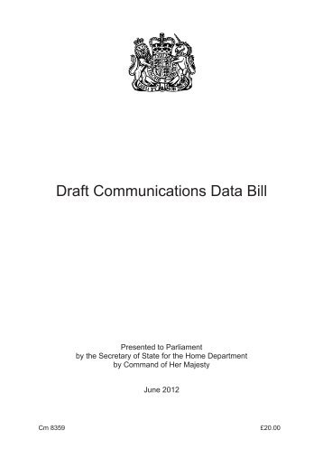 Draft Communications Data Bill CM 8359 - Official Documents