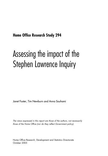 Assessing the impact of the Stephen Lawrence Inquiry