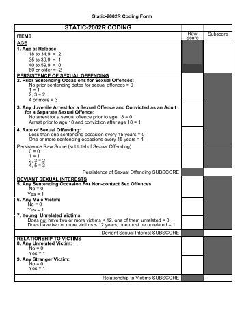 static 99 Sex offenders, the static-99 form and re-offending while it remains impossible to determine exactly whether a sex offender will re offend statistically there are underlying factors that.