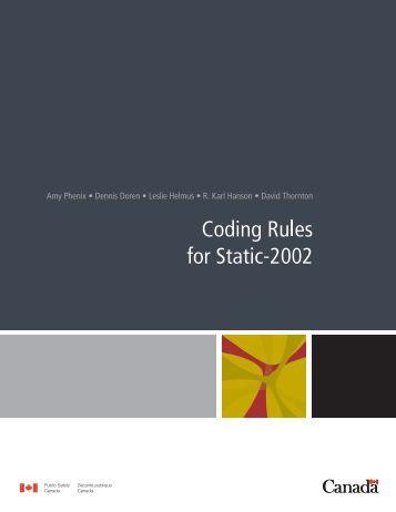 Static-2002 coding rules (2009) - Static-99