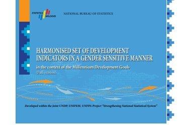 Harmonised set of development indicators in a gender sensitive matter