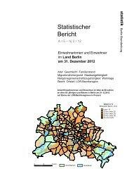 Einwohner im Land Berlin am 31. Dezember 2012 - Amt für Statistik ...