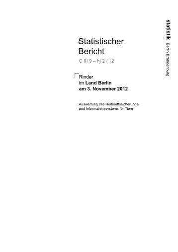 Rinder im Land Berlin am 3. November 2012 - Amt für Statistik Berlin ...