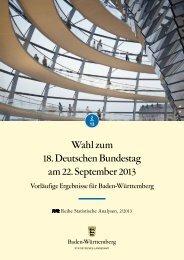 Wahl zum 18. Deutschen Bundestag am 22. September 2013 ...