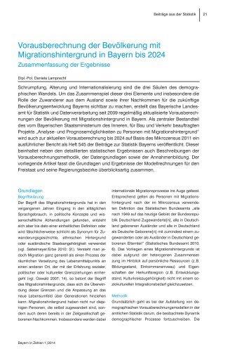 Vorausberechnung der Bevölkerung mit Migrationshintergrund in ...