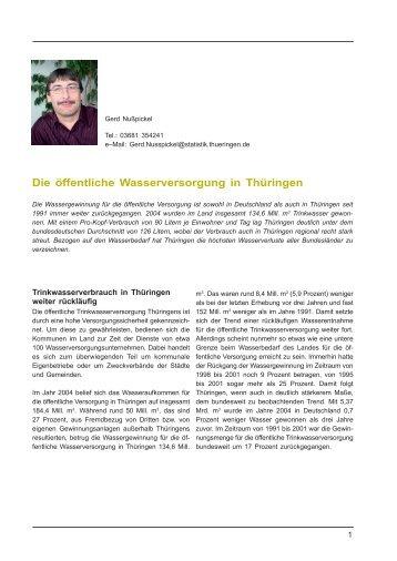 Die öffentliche Wasserversorgung in Thüringen - Thüringer ...