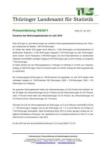 Zunahme des Wohnungsbestandes im Jahr 2010 - Thüringer ...