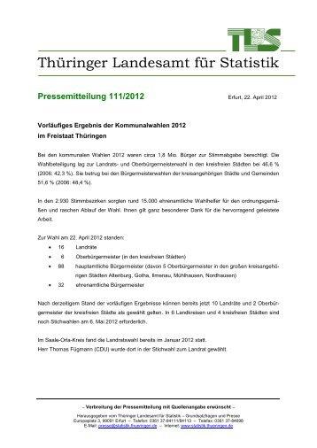 Pressemitteilung 111/2012 - Thüringer Landesamt für Statistik ...