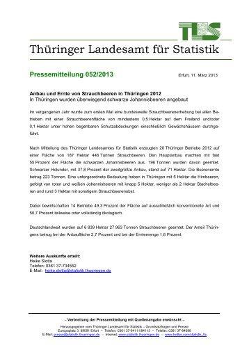 Anbau und Ernte von Strauchbeeren in Thüringen 2012 In ...