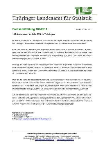 100 Adoptionen im Jahr 2010 in Thüringen - Thüringer Landesamt ...