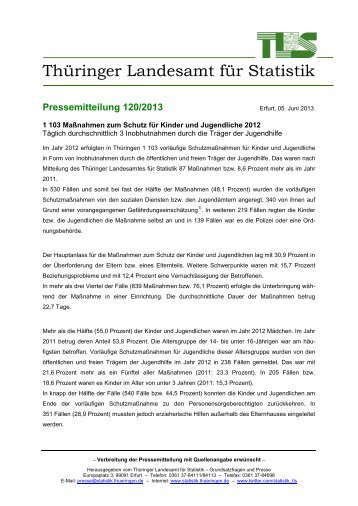 1 103 Maßnahmen zum Schutz für Kinder und Jugendliche 2012 ...