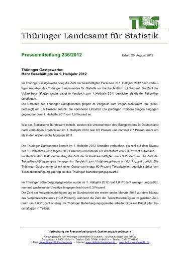 Beschäftigte im 1. Halbjahr 2012 - Thüringer Landesamt für Statistik