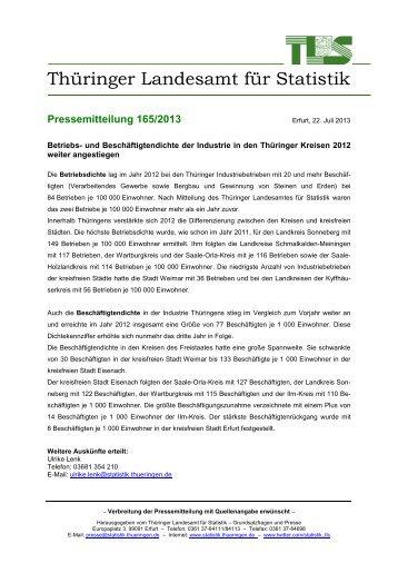 und Beschäftigtendichte der Industrie in den Thüringer Kreisen 2012 ...