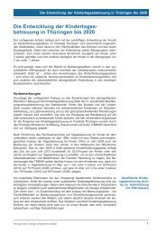 Die Entwicklung der Kindertagesbetreuung in Thüringen bis 2020
