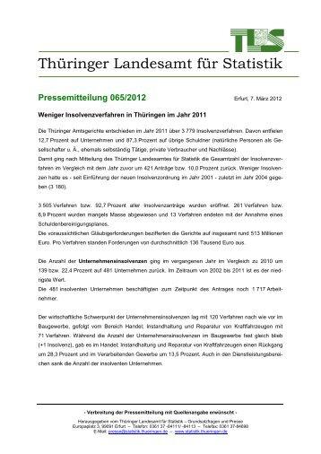 Weniger Insolvenzverfahren in Thüringen im Jahr 2011 - Thüringer ...
