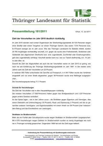 Zahl der Verurteilten im Jahr 2010 deutlich rückläufig - Thüringer ...